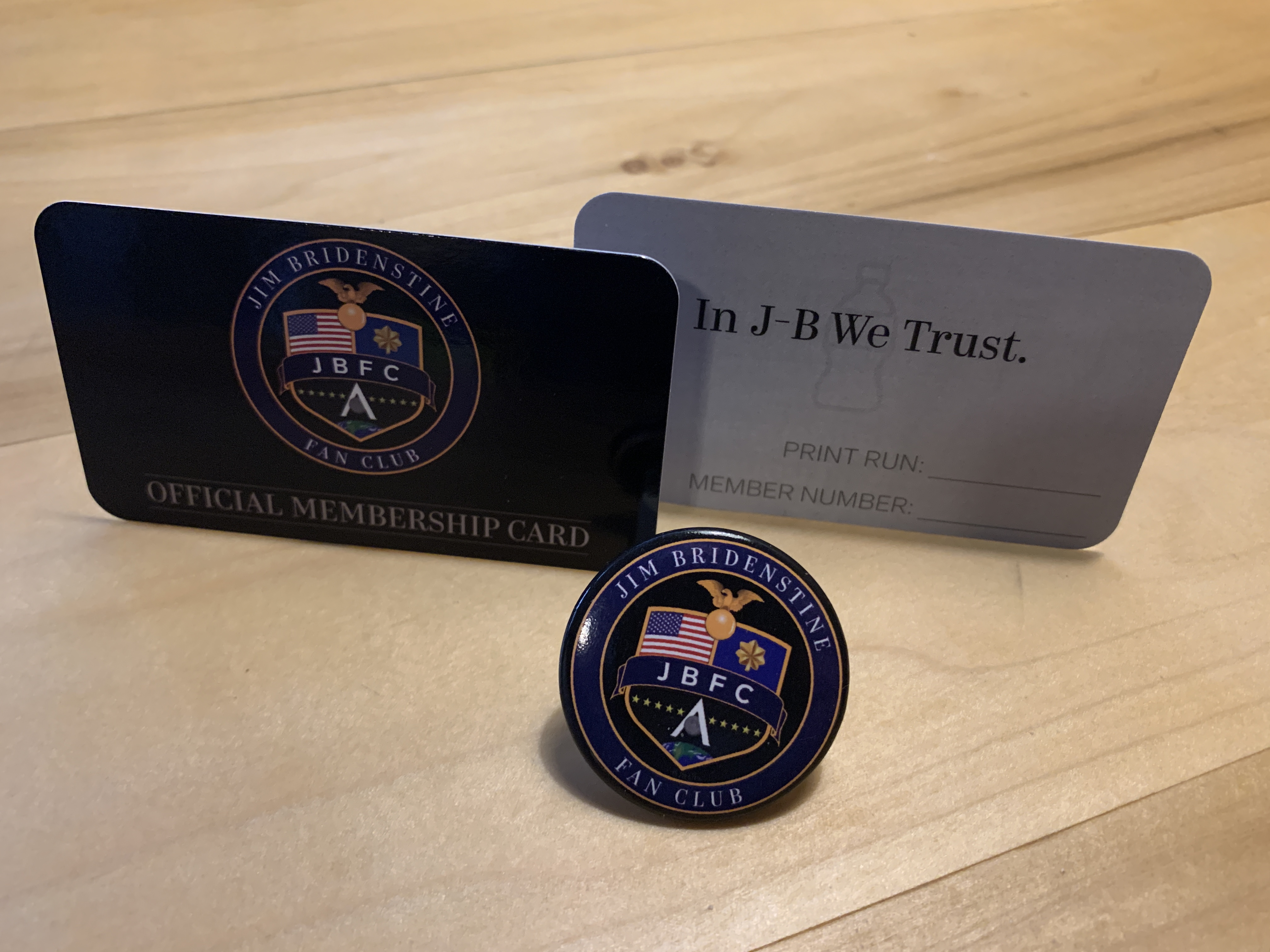 Jim Bridenstine Fan Club Pin and Membership Card